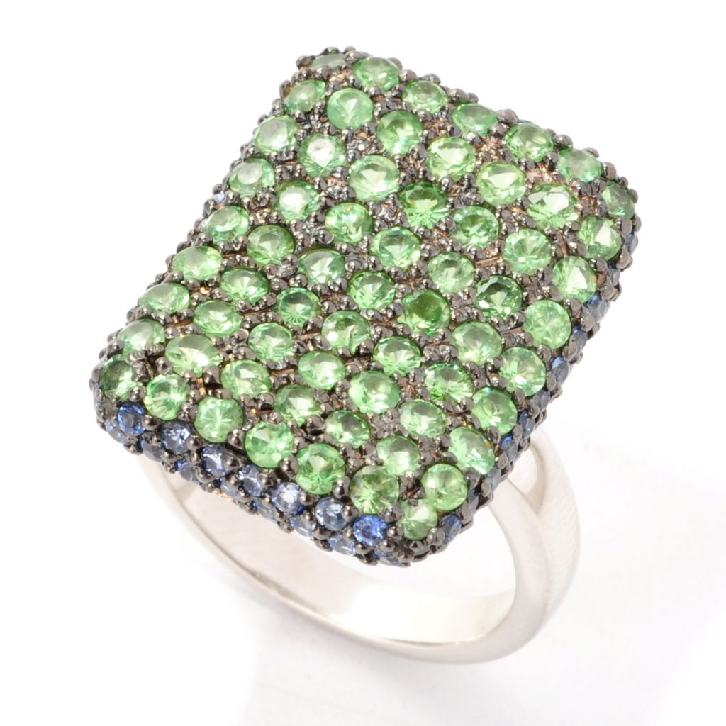 139-166 - Gem Treasures Sterling Silver 2.01ctw Tsavorite & Sapphire Rectangle Ring