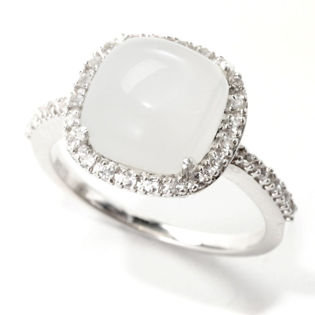 139-167 - Gem Treasures Sterling Silver 10mm Moonstone & White Topaz Halo Ring