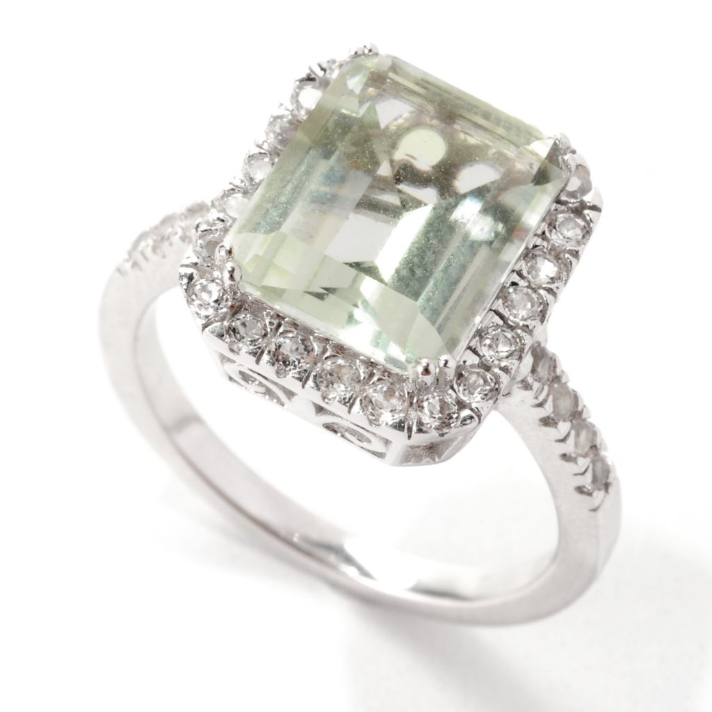 139-168 - Gem Treasures Sterling Silver 4.15ctw Prasiolite & White Topaz Halo Ring