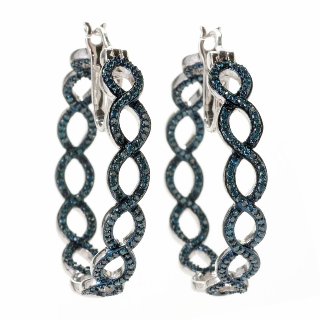 "139-170 - Diamond Treasures Sterling Silver 1.25"" 1.15ctw Blue Diamond Hoop Earrings"