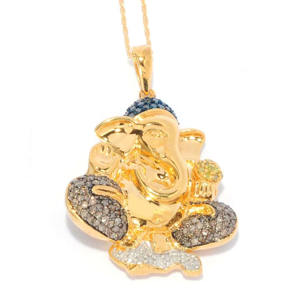 139-172 - Diamond Treasures 14K Gold Embraced™ 0.84ctw Fancy Color Diamond Ganesha Pendant