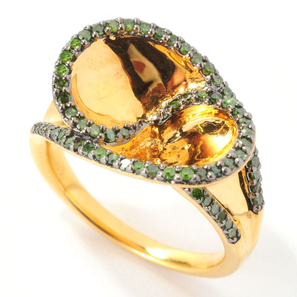 139-173 - Diamond Treasures 14K Gold Embraced™ 0.45ctw Round Green Diamond Large Oval Ring