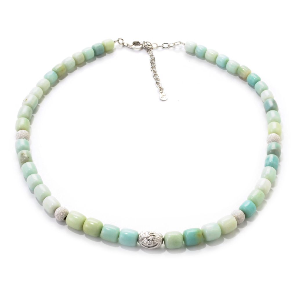 "139-176 - Gem Insider Sterling Silver 18"" Amazonite & Stardust Bead Station Necklace"