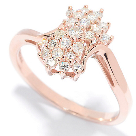 139-179 - Forever Brilliant® Moissanite 14K Rose Gold Round Cut Cluster Band Ring