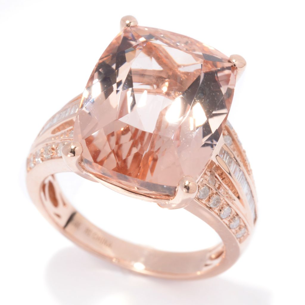 139-192 - Gem Treasures 14K Rose Gold 11.90ctw Cushion Cut Morganite & Diamond Ring