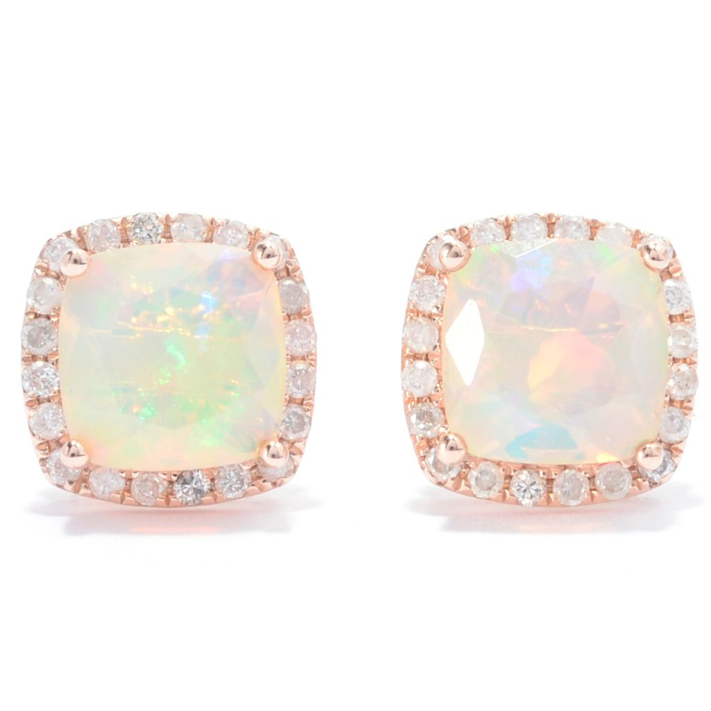 139-195 - Gem Treasures 14K Rose Gold 1.95ctw Ethiopian Opal & Diamond Halo Stud Earrings