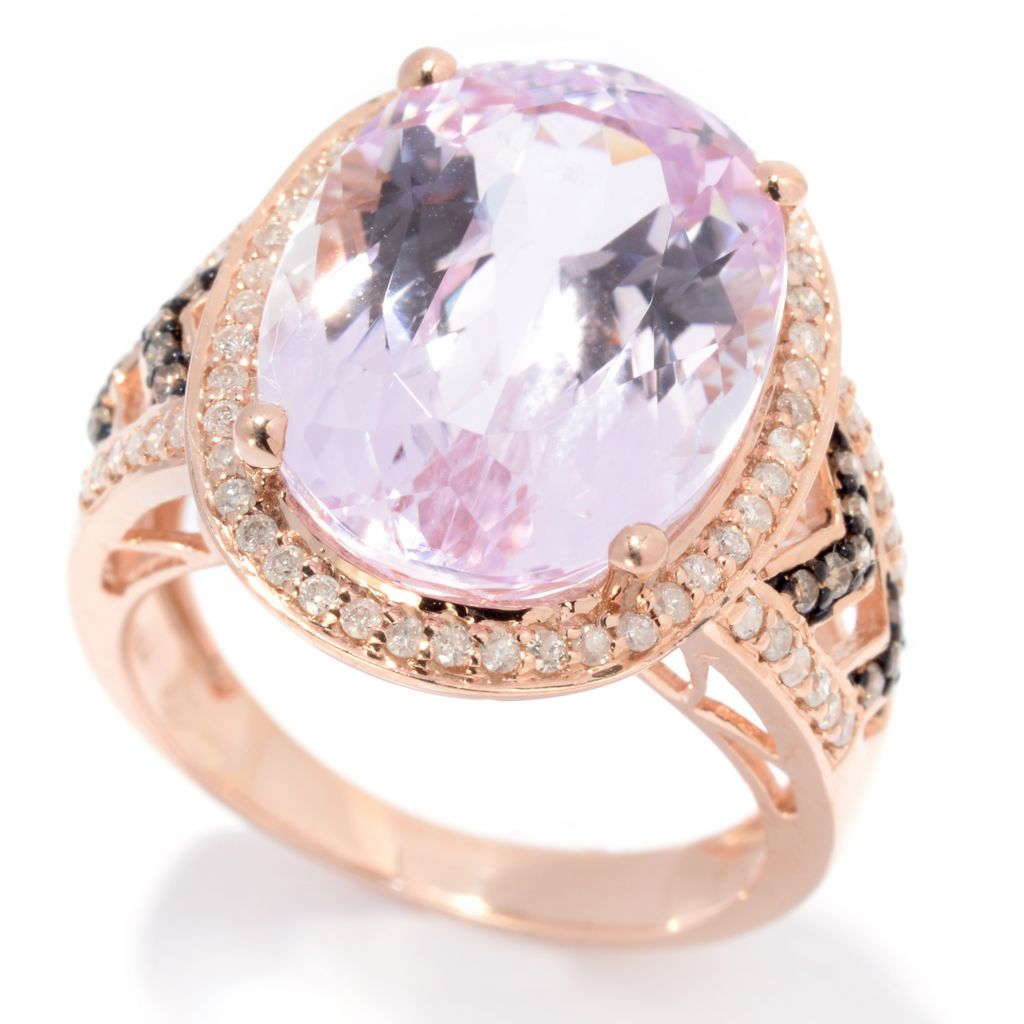 139-196 - Gem Treasures 14K Rose Gold 11.63ctw Oval Kunzite & Multi Diamond Ring