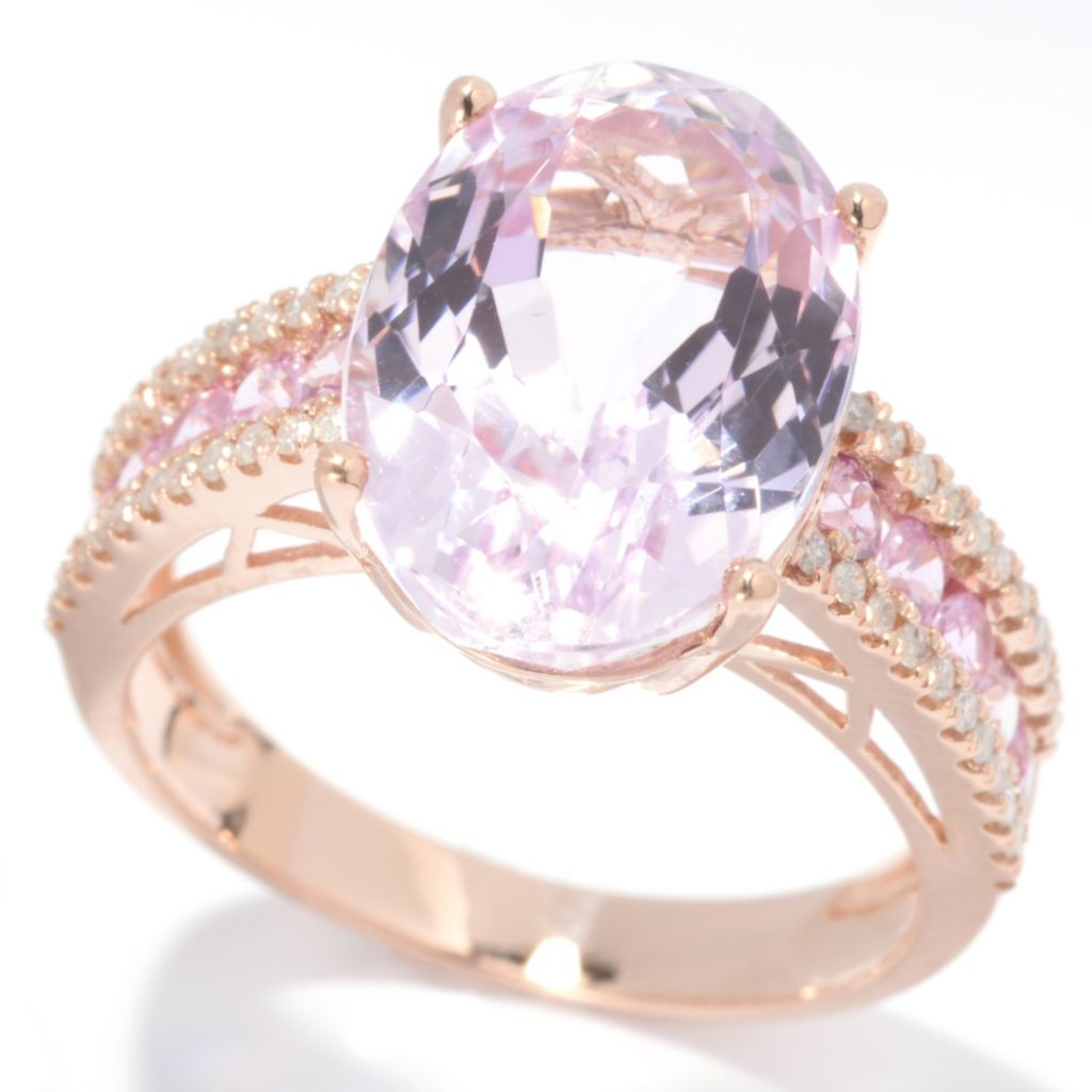 139-197 - Gem Treasures 14K Rose Gold 8.00ctw Kunzite, Pink Sapphire & Diamond Ring