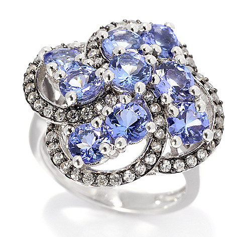 139-198 - Gem Treasures® Sterling Silver 4.37ctw Tanzanite & White Zircon Cluster Swirl Ring