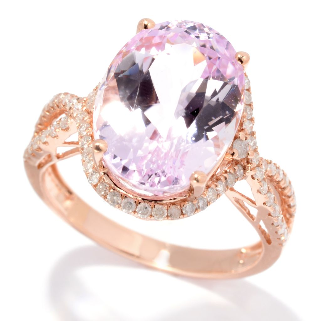 139-199 - Gem Treasures 14K Rose Gold 8.23ctw Oval Kunzite & Diamond Cut-out Shank Ring