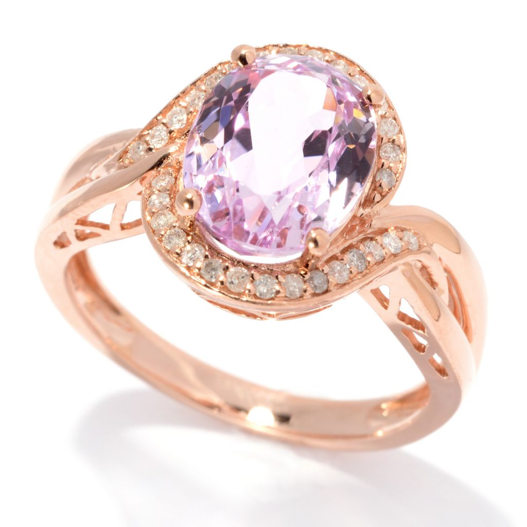 139-200 - Gem Treasures 14K Rose Gold 3.47ctw Oval Kunzite & Diamond Halo Ring