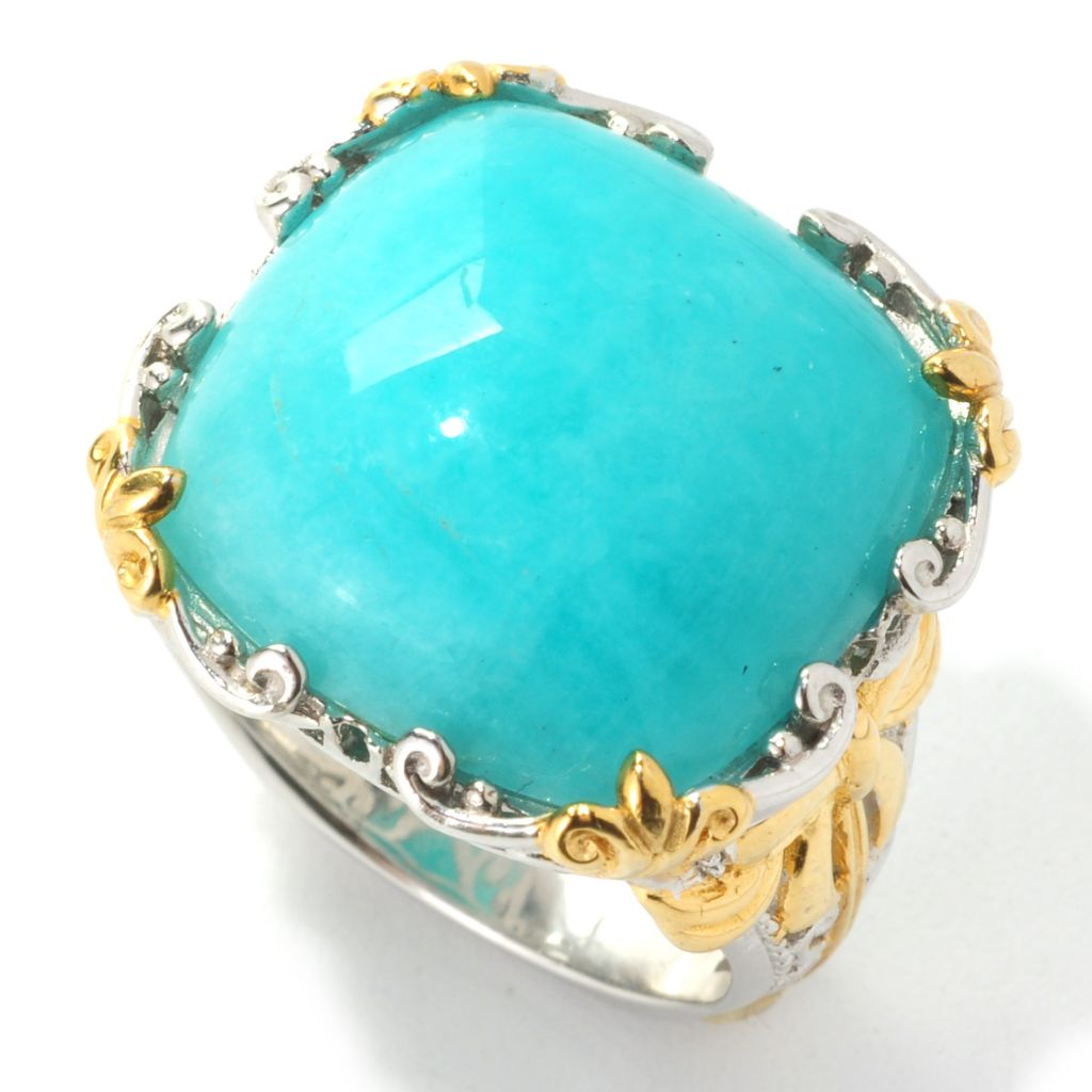 139-213 - Gems en Vogue 18mm Cushion Cut Peruvian Amazonite Bow Shank Ring