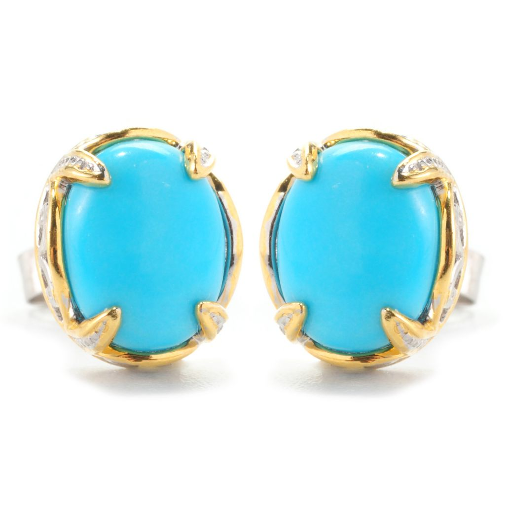 139-215 - Gems en Vogue II 9 x 7mm Oval Sleeping Beauty Turquoise Stud Earrings