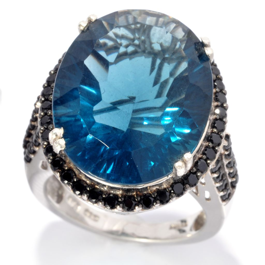139-217 - NYC II 20 x 15mm Special-Cut Blue Fluorite & Black Spinel Ring