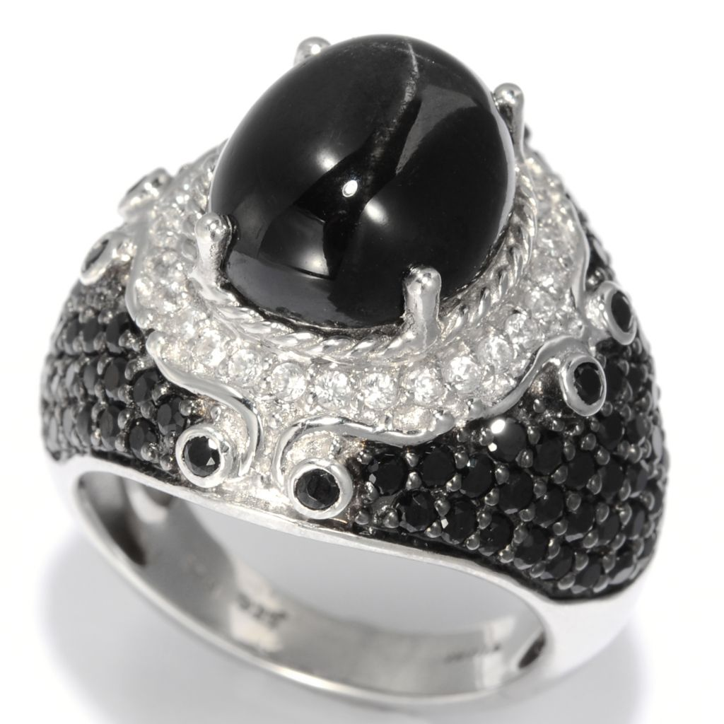139-218 - NYC II 12 x 10mm Black Star Diopside, Black Spinel & White Zircon Ring