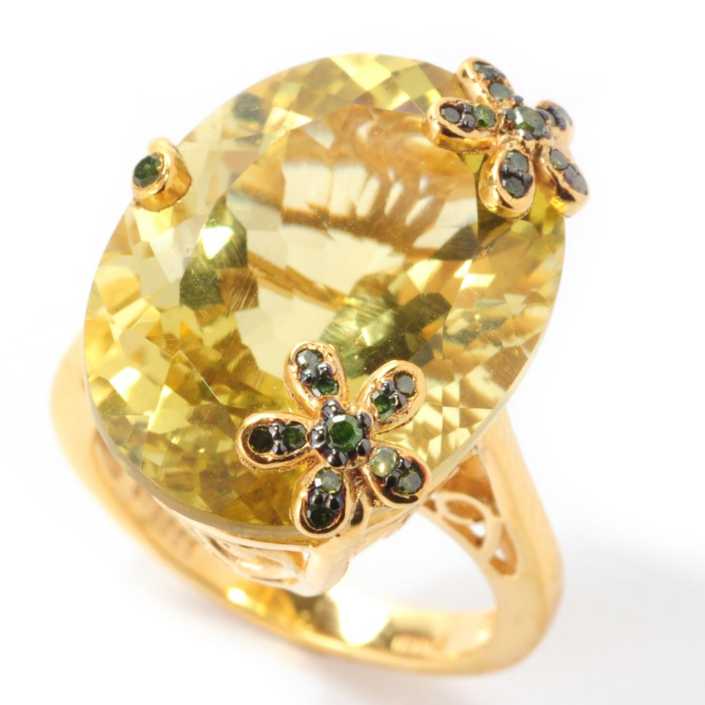 139-220 - NYC II 14.57ctw 100-Facet Oval Ouro Verde & Green Diamond Flower Ring