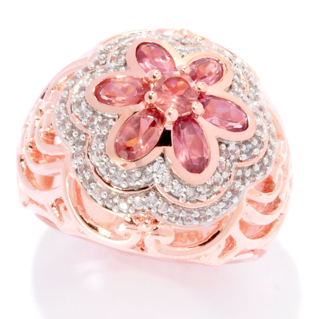 139-222 - NYC II 2.11ctw Malaya Garnet & White Zircon Flower Dome Ring