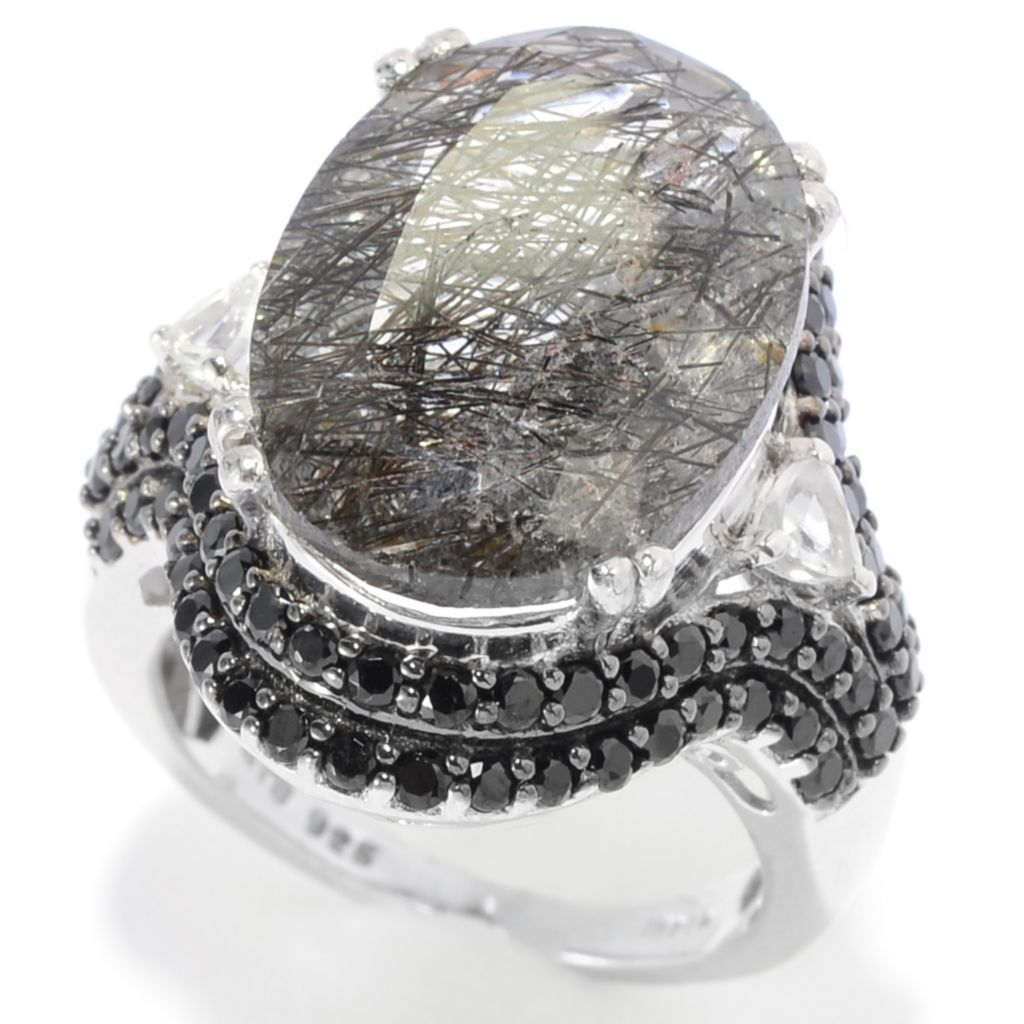 139-223 - NYC II 18 x 13mm Oval Rutilated Quartz, Black Spinel & White Topaz Ring