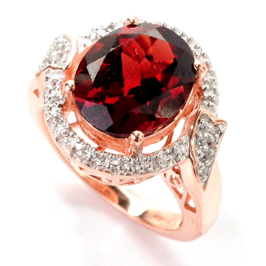 139-225 - NYC II 4.34ctw Oval Mozambique Garnet & White Zircon Halo Ring