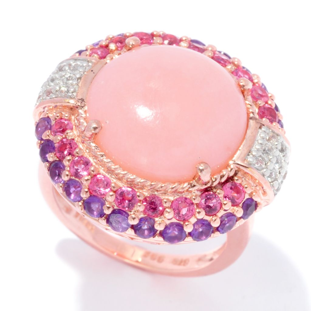 139-231 - NYC II 14mm Round Pink Opal, Pink Spinel & Amethyst Ring