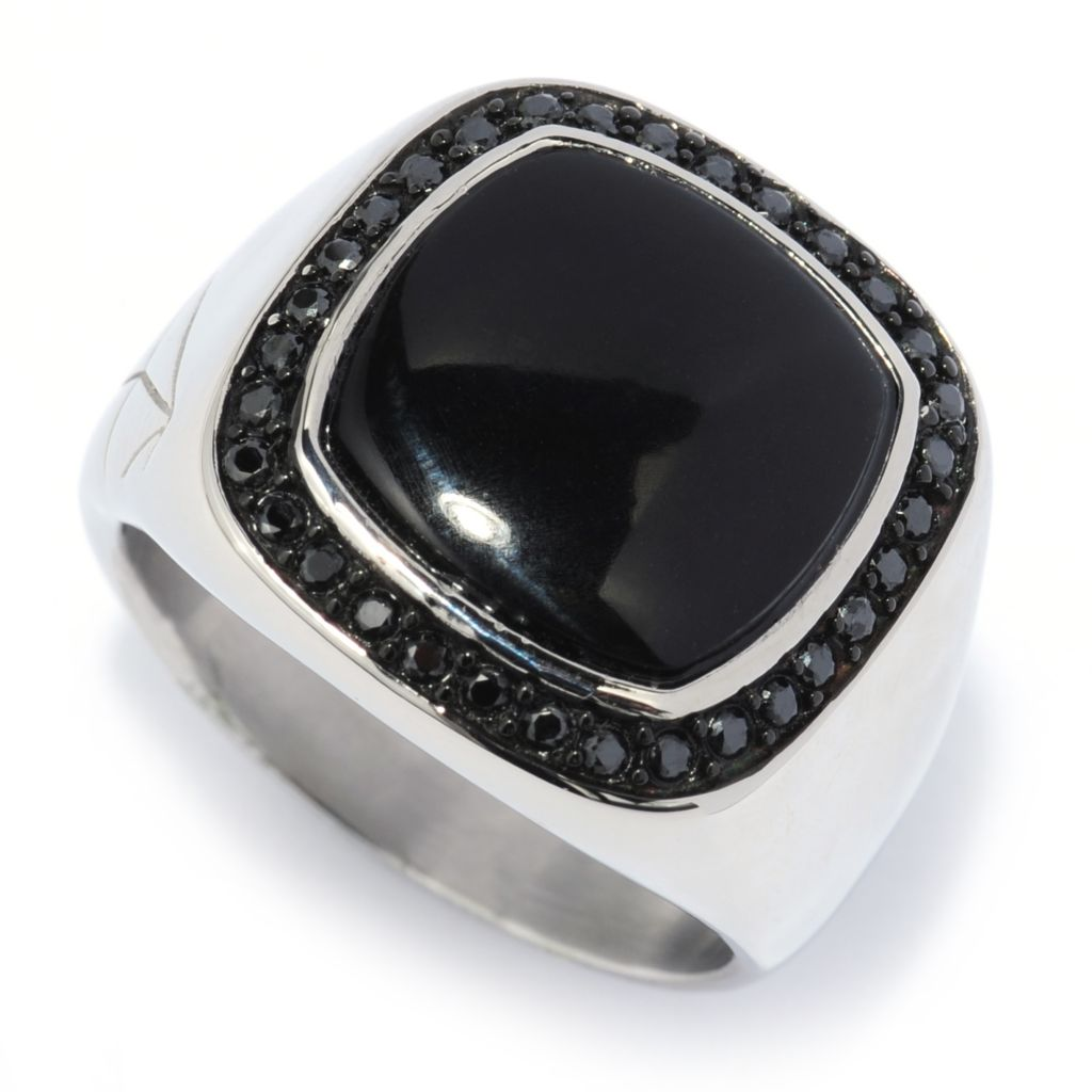 139-235 - TYCOON Men's Stainless Steel 13mm Cushion Shape Simulated Black Onyx Halo Ring