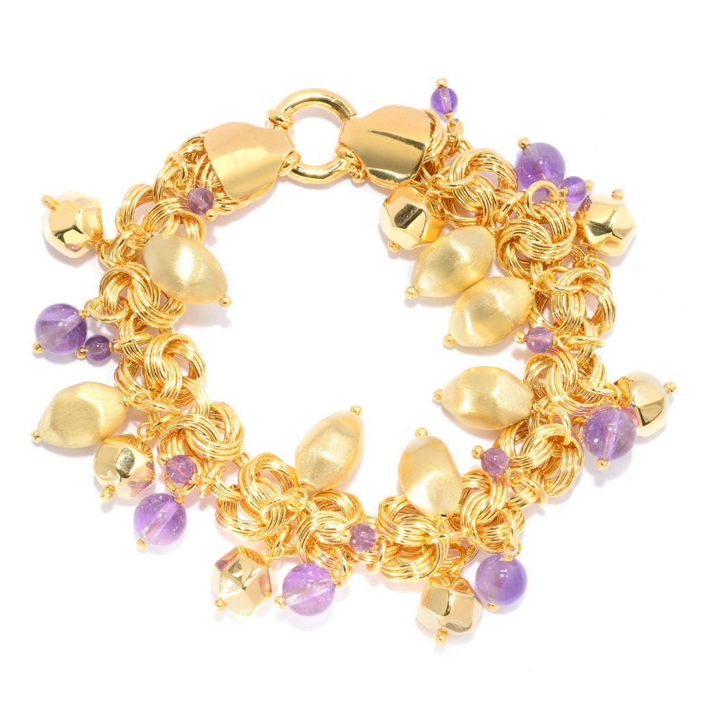 "139-238 - Toscana Italiana 18K Gold Embraced™ 8.25"" Amethyst & Textured Bead Charm Bracelet"