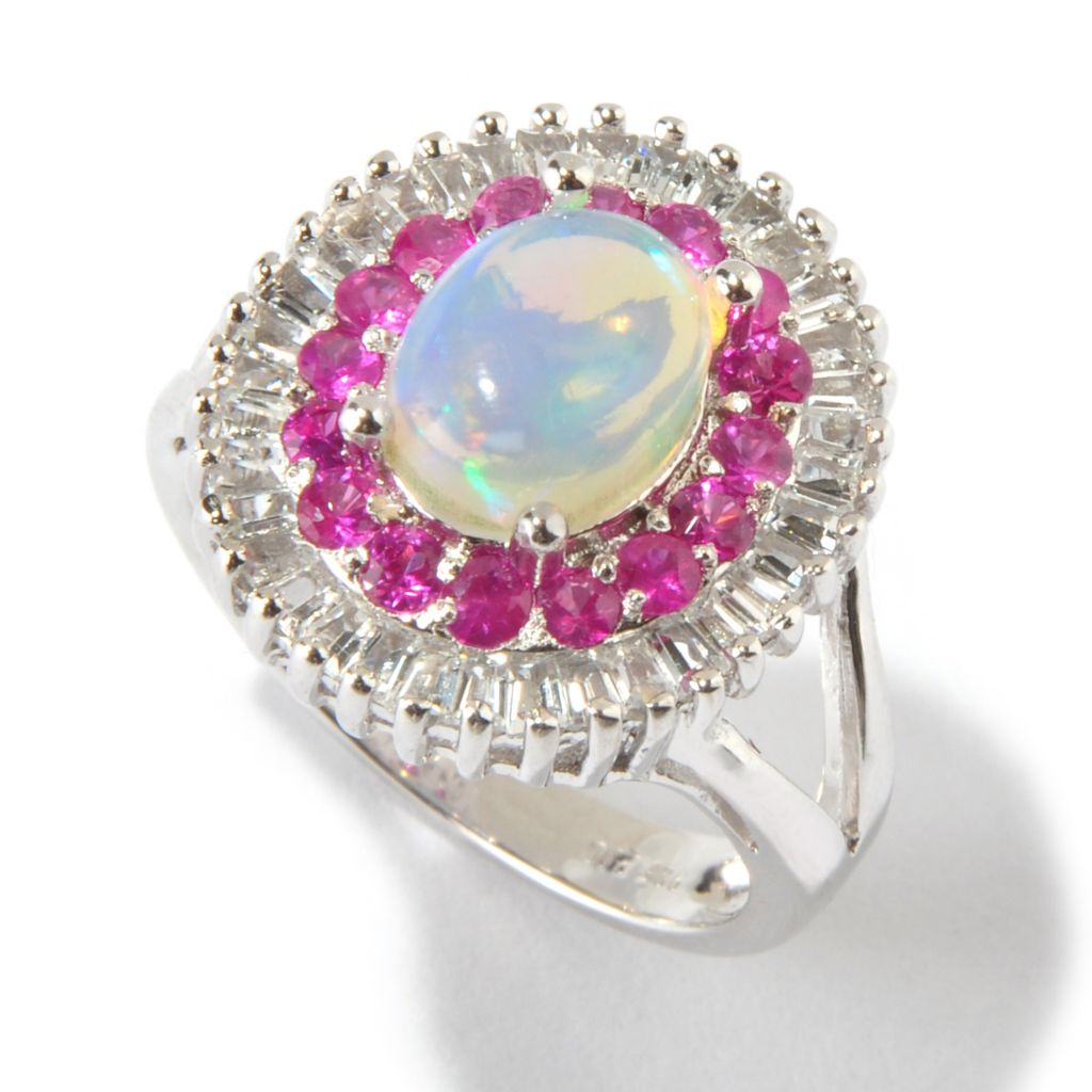 "139-240 - ""As Is"" Gem Insider Sterling Silver 9 x 7mm Ethiopian Opal & Sapphire Ballerina Ring"