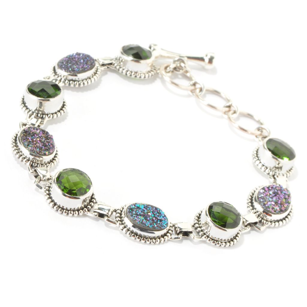 "139-241 - ""As Is"" Sterling Silver 7"" Forest Green, Purple or Rose Drusy & Quartz Doublet Bracelet w/ Extender"