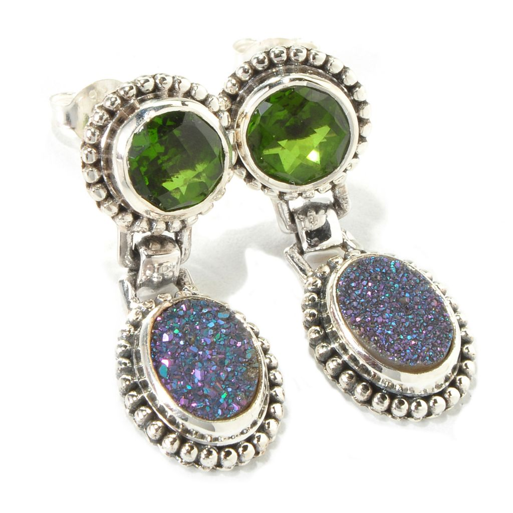 "139-242 - ""As Is"" Sterling Silver Forest Green, Purple or Rose Drusy & Quartz Doublet Drop Earrings"