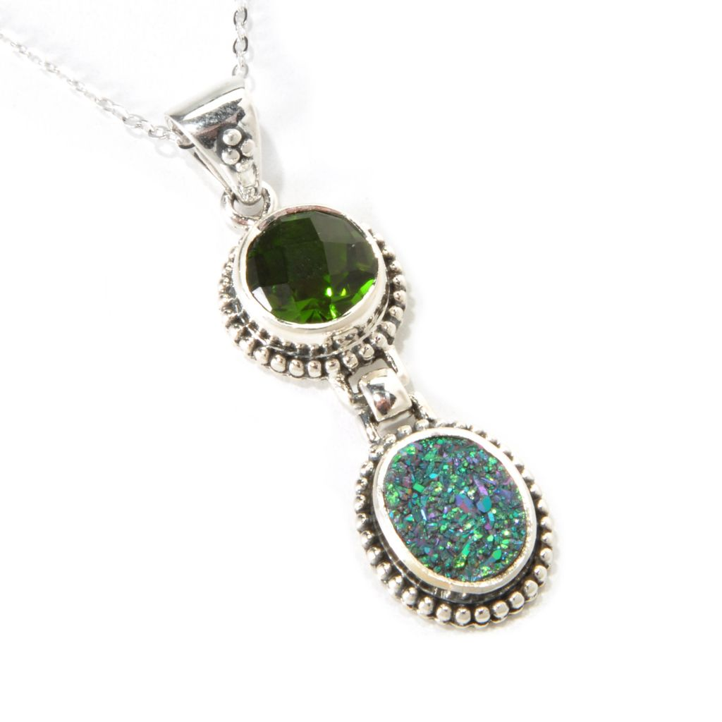 "139-243 - ""As Is"" Sterling Silver Forest Green, Purple or Rose Drusy & Quartz Doublet Pendant w/ Chain"