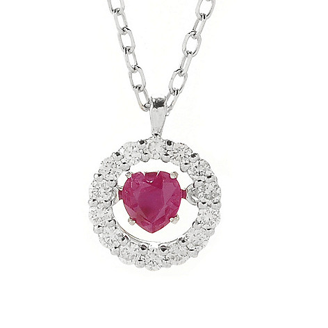 139-246 - Beverly Hills Elegance® 14K White Gold 0.45ctw Diamond & Heart Shaped Gem Heartbeat Pendant