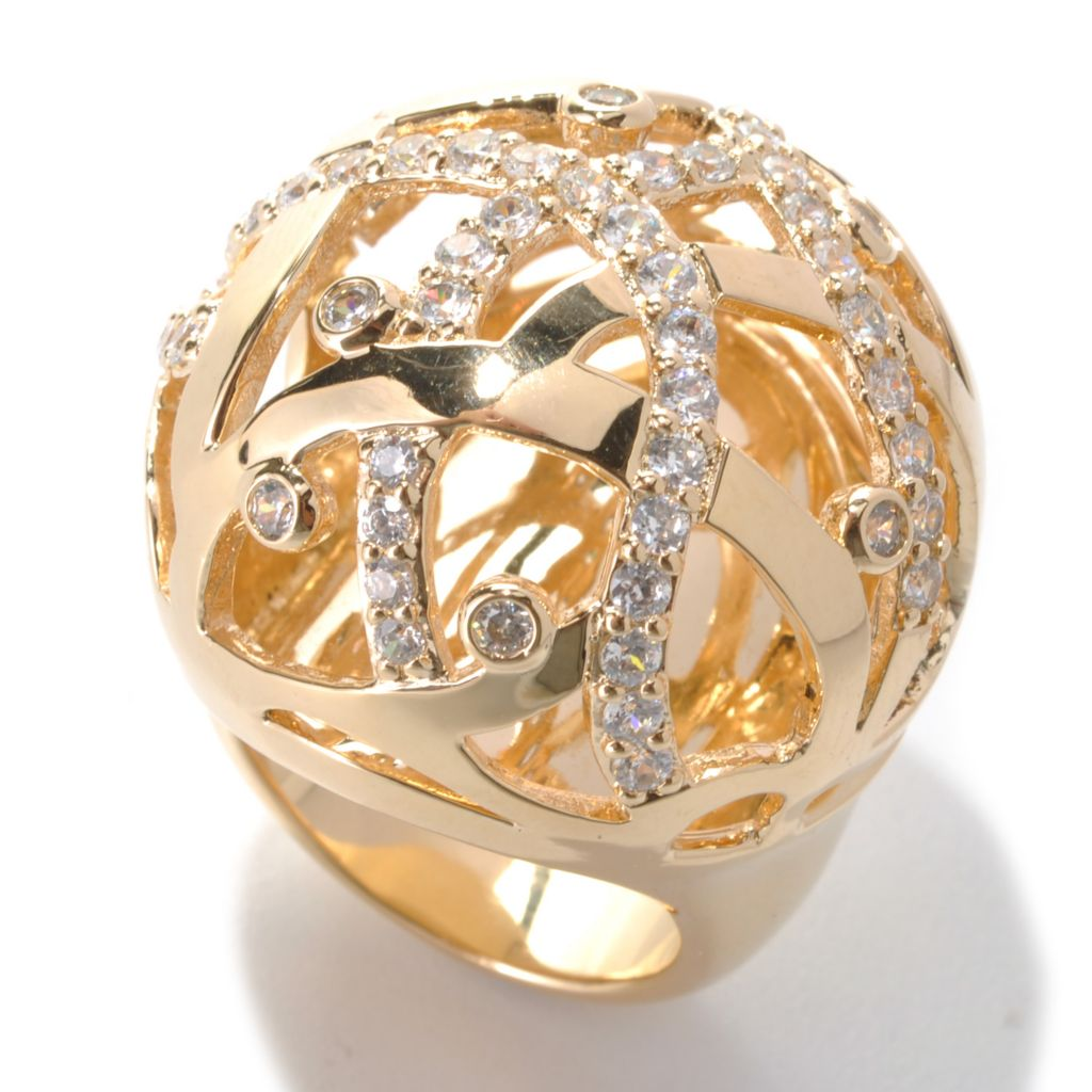 "139-247 - ""As Is"" Bergio 18K Gold Embraced™ 1.66 DEW Round Simulated Diamond Large Dome Ring - Size 5"