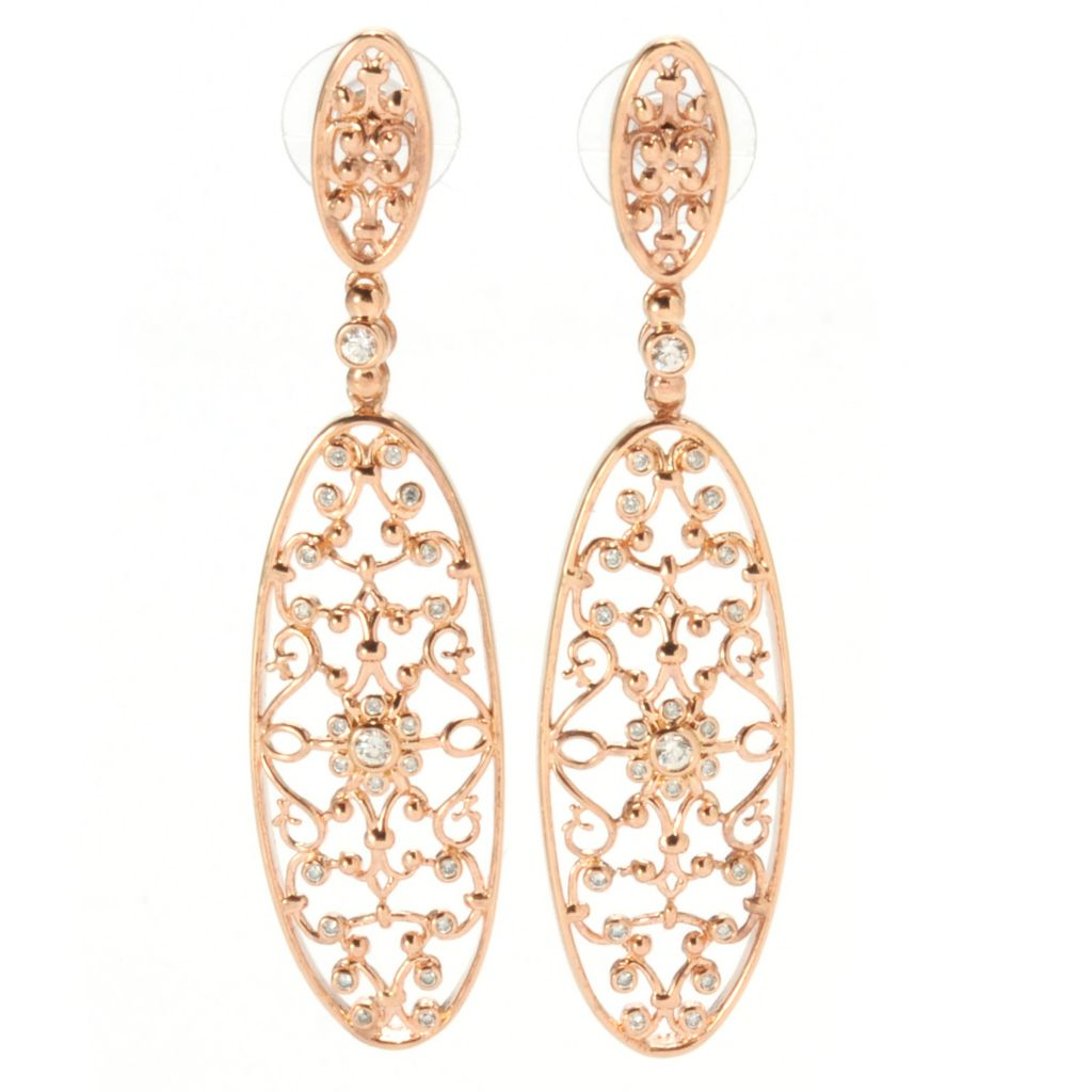 "139-249 - ""As Is"" Bergio 18K Rose Gold Embraced™ 2.75"" Bezel Set Simulated Diamond Filigree Earrings"