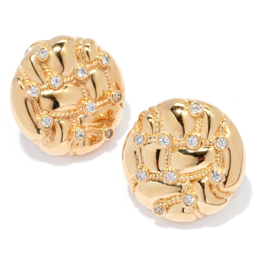 "139-250 - ""As Is"" Bergio 18K Gold Embraced™ Simulated Diamond Rope Design Button Earrings"