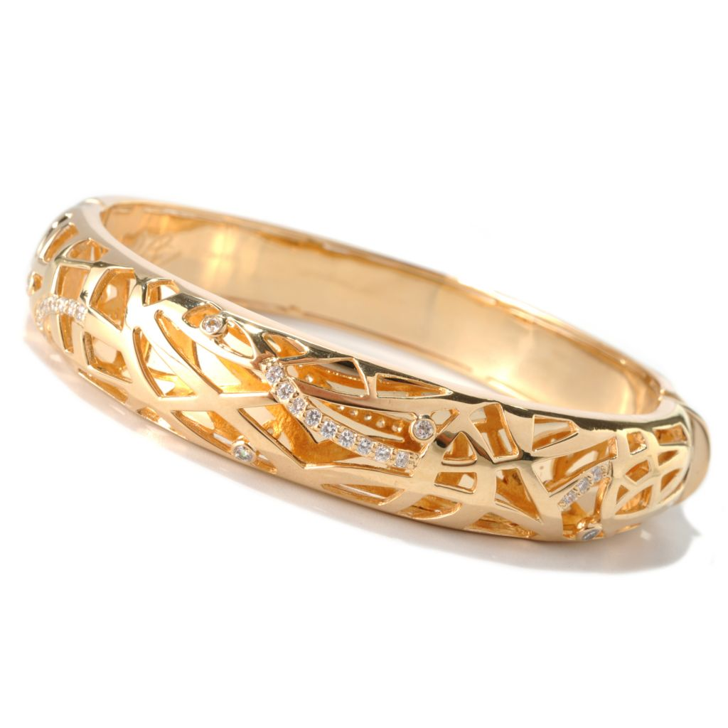 "139-252 - ""As Is"" Bergio 18K Gold Embraced™ 8"" Brilliant Cut Simulated Diamond Bangle Bracelet"