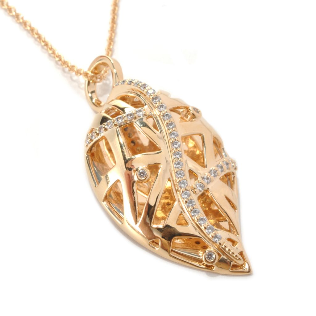 "139-254 - ""As Is"" Bergio Safari Collection Gold Embraced™ Simulated Diamond Leaf Pendant"