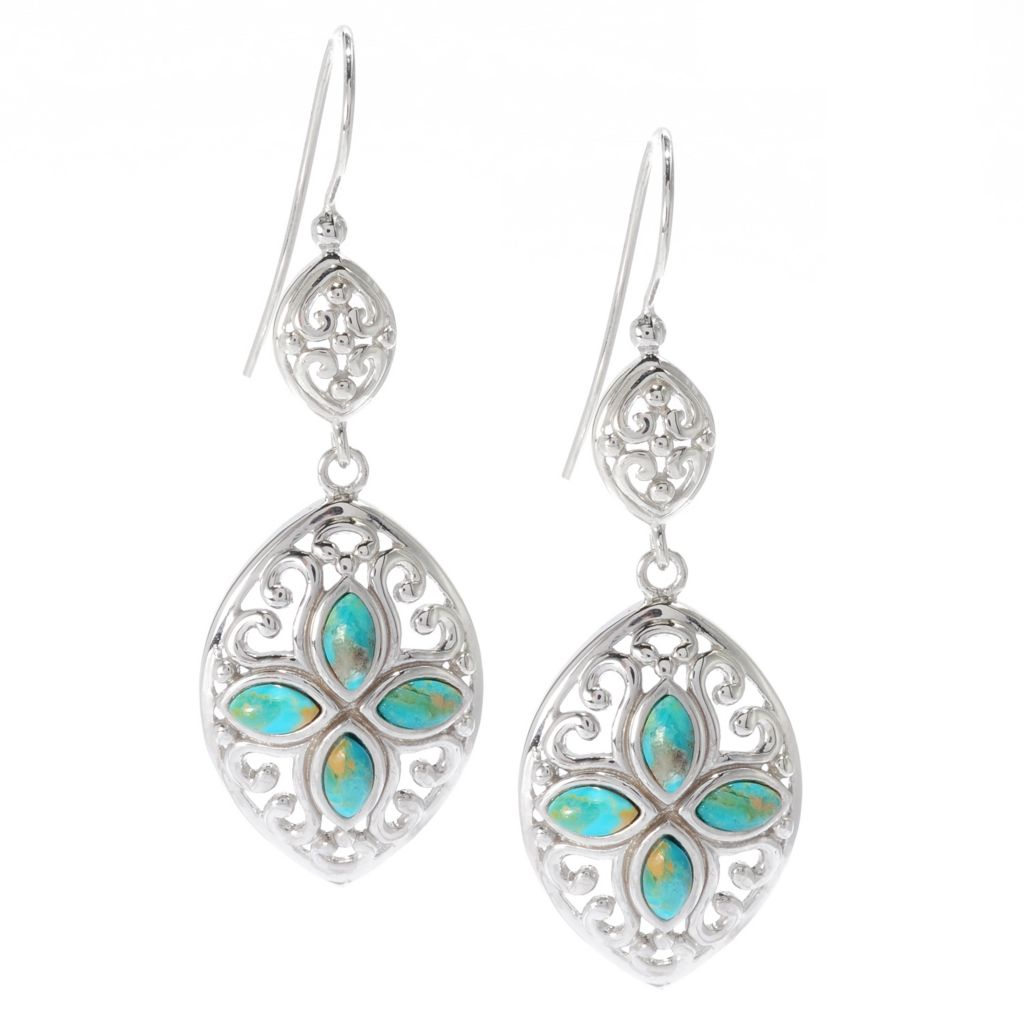 "139-258 - Gem Insider Sterling Silver 2"" 6 x 3mm Turquoise Marquise Shaped Drop Earrings"
