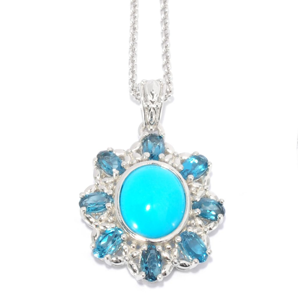 139-261 - Gem Insider Sterling Silver Sleeping Beauty Turquoise & London Blue Topaz Pendant