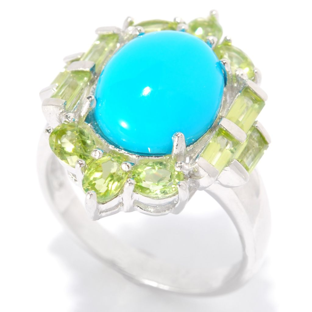 139-262 - Gem Insider Sterling Silver 12 x 10mm Sleeping Beauty Turquoise Fancy Halo Ring