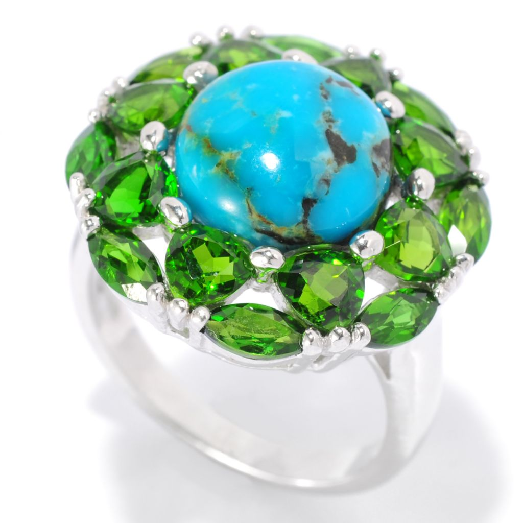 139-263 - Gem Insider Sterling Silver 10mm Kingman Turquoise & Chrome Diopside Halo Ring