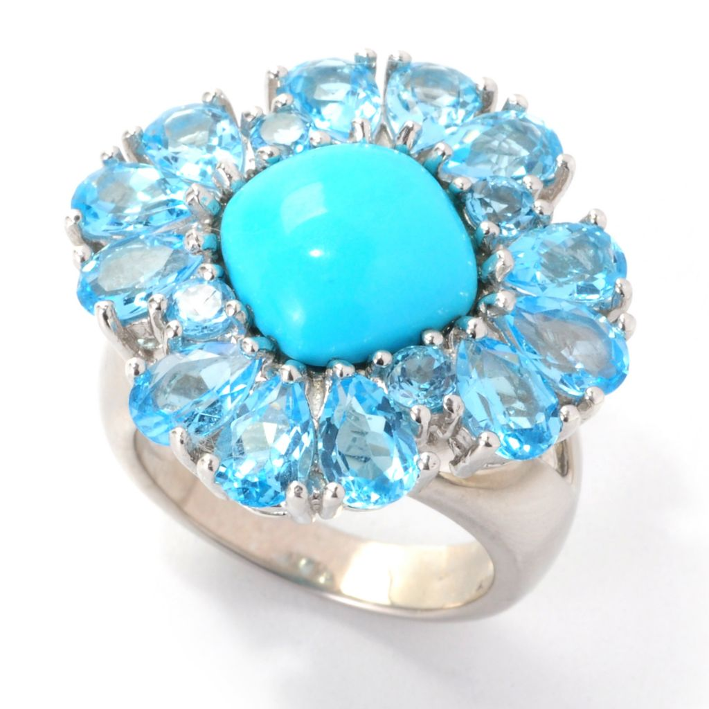 139-264 - Gem Insider Sterling Silver Sleeping Beauty Turquoise & Swiss Blue Topaz Ring