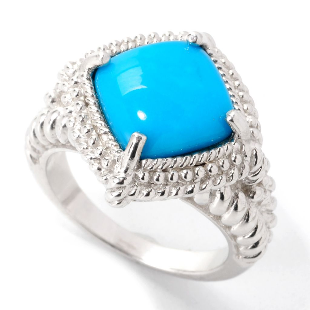139-265 - Gem Insider Sterling Silver 10mm Sleeping Beauty Turquoise Textured Ring