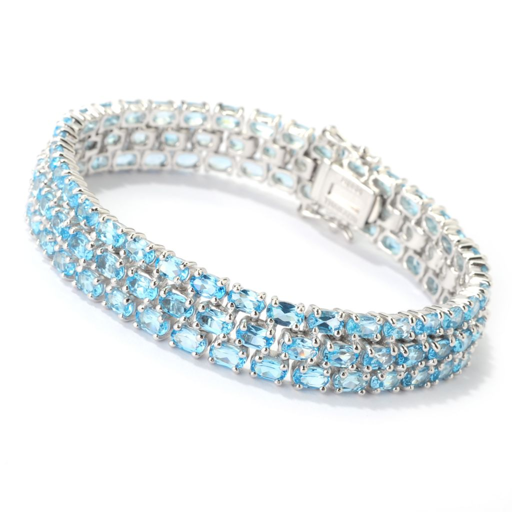 "139-267 - Gem Insider Sterling Silver 7.5"" 26.00ctw Swiss Blue Topaz Three-Row Bracelet"