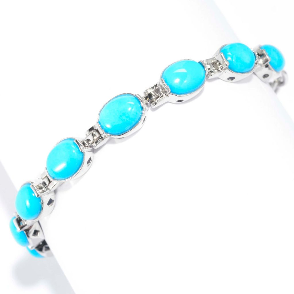 "139-268 - Gem Insider Sterling Silver 6"" 8 x 6mm Sleeping Beauty Turquoise Link Bracelet"