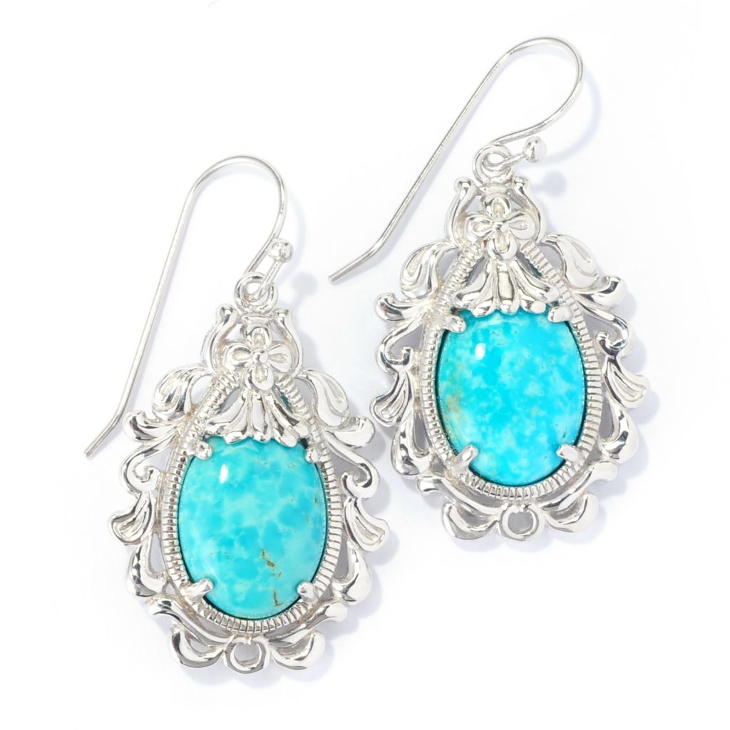 "139-271 - Gem Insider Sterling Silver 1.5"" 16 x 12mm Kingman Turquoise Scroll Earrings"