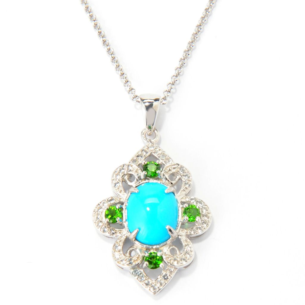 139-272 - Gem Insider Sterling Silver 11 x 9mm Sleeping Beauty Turquoise & Multi Gem Pendant