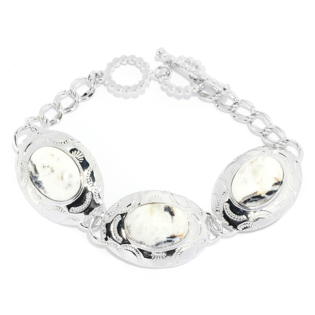 "139-279 - Elements by Sarkash 7.5"" 17 x 12mm White Buffalo Calcite Quartz Textured Oval Link Toggle Bracelet"