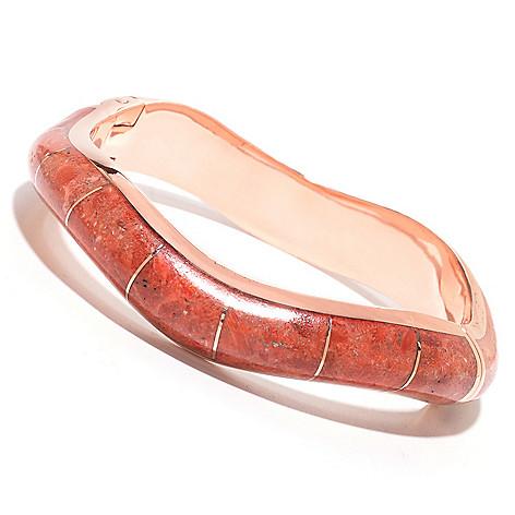 139-281 - Elements by Sarkash Copper 7'' 13 x 10mm Gemstone Hinged Wavy Bangle Bracelet