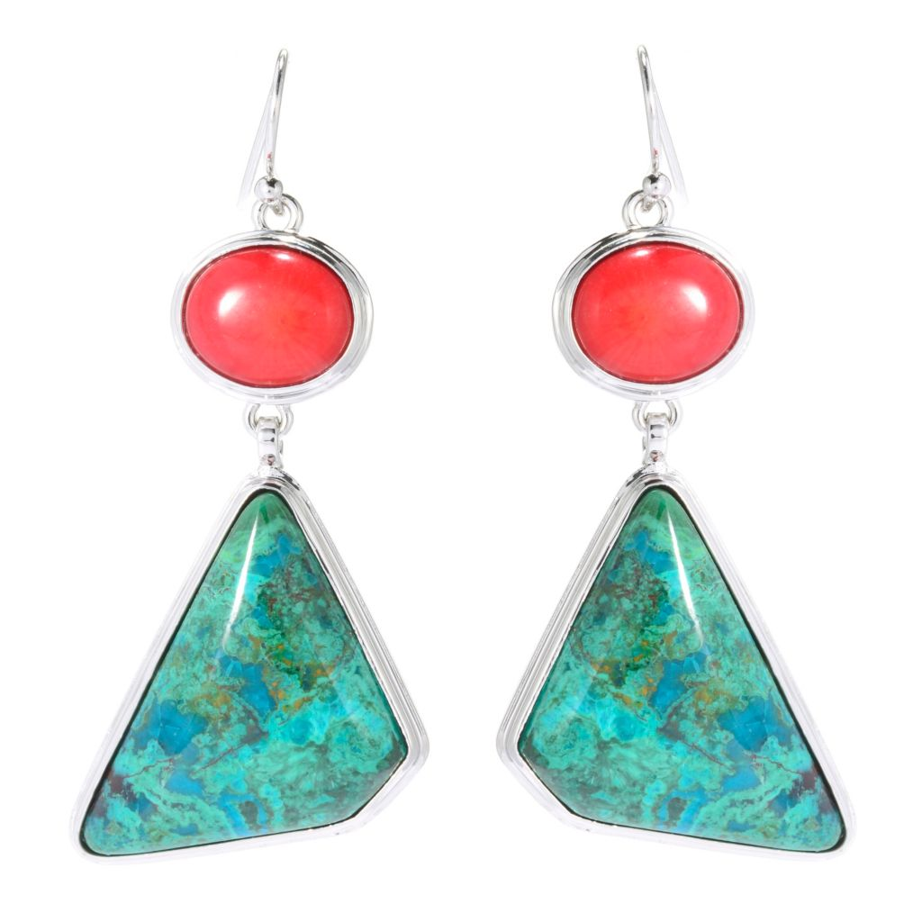 "139-282 - Elements by Sarkash 2"" Chrysocolla & Red Coral Geometric Drop Earrings"