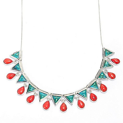 139-283 - Elements by Sarkash 18'' Chrysocolla & Red Coral Geometric Necklace